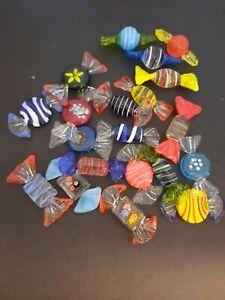 "20 Murano 2"" Long Art Glass Candies, Handmade Decor, Assorted Shapes & Colors"