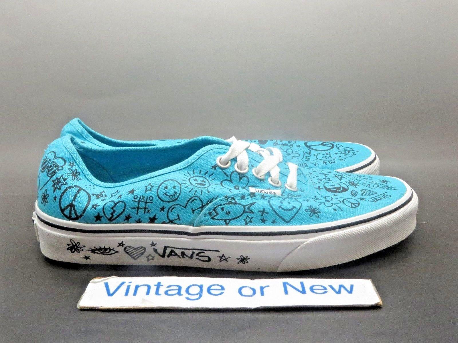 Women's Vans Authentic Teal White Peace Love Skate Shoe sz 9