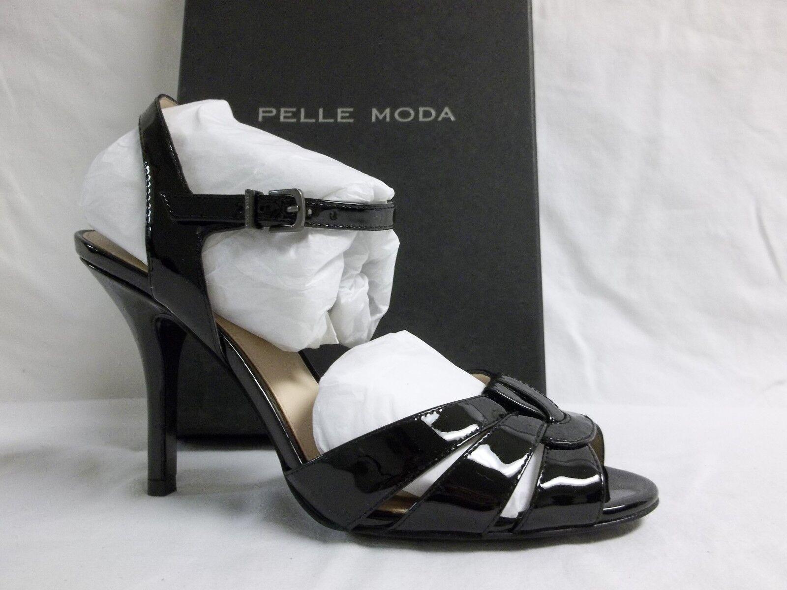 Pelle Moda Taille 8 M Gypsy Noir Cuir Verni Bout Ouvert Talons Hauts Pour Femme Chaussures