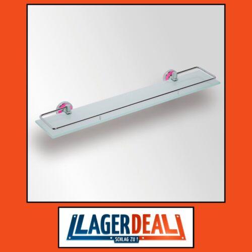Glasablage 600x55x130mm Milchglas Chrom / Pink Badartikel Bad Zubehör Lagerdeal