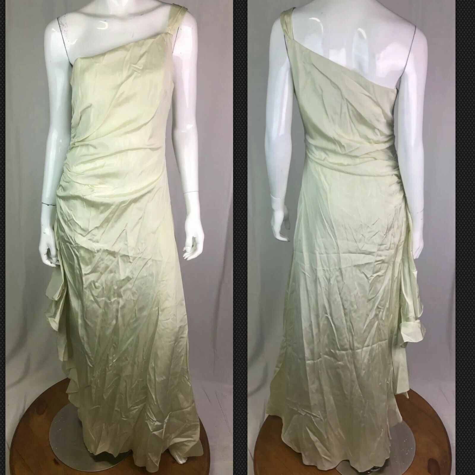 Lillie Rubin Vintage 8 Cream Olive Tafetta One Shoulder Maxi Dress Gown 4