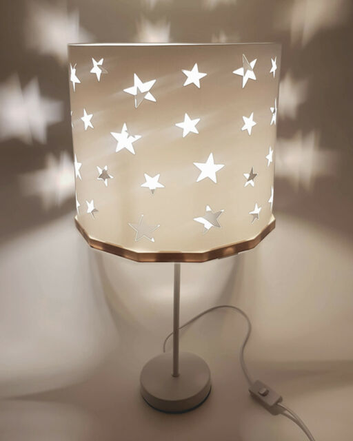 Bedside table lamp White Stars EREKI Magnetic Set for Touchless Bulb Changing