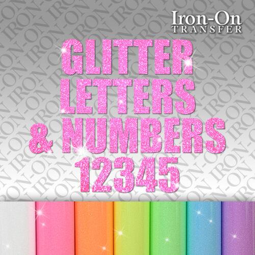 IRON-ON Neon Glitter LETTERS NUMBERS Tshirt TRANSFER Craft vinyl Sticker