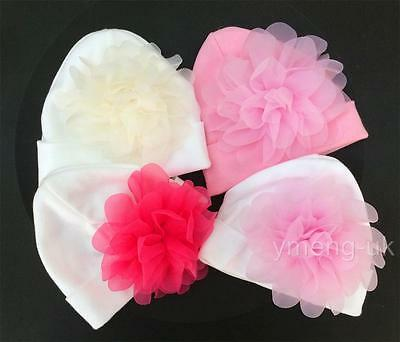 baby girl baby crochet bonnet pink hat white trim pink satin bow /& flower