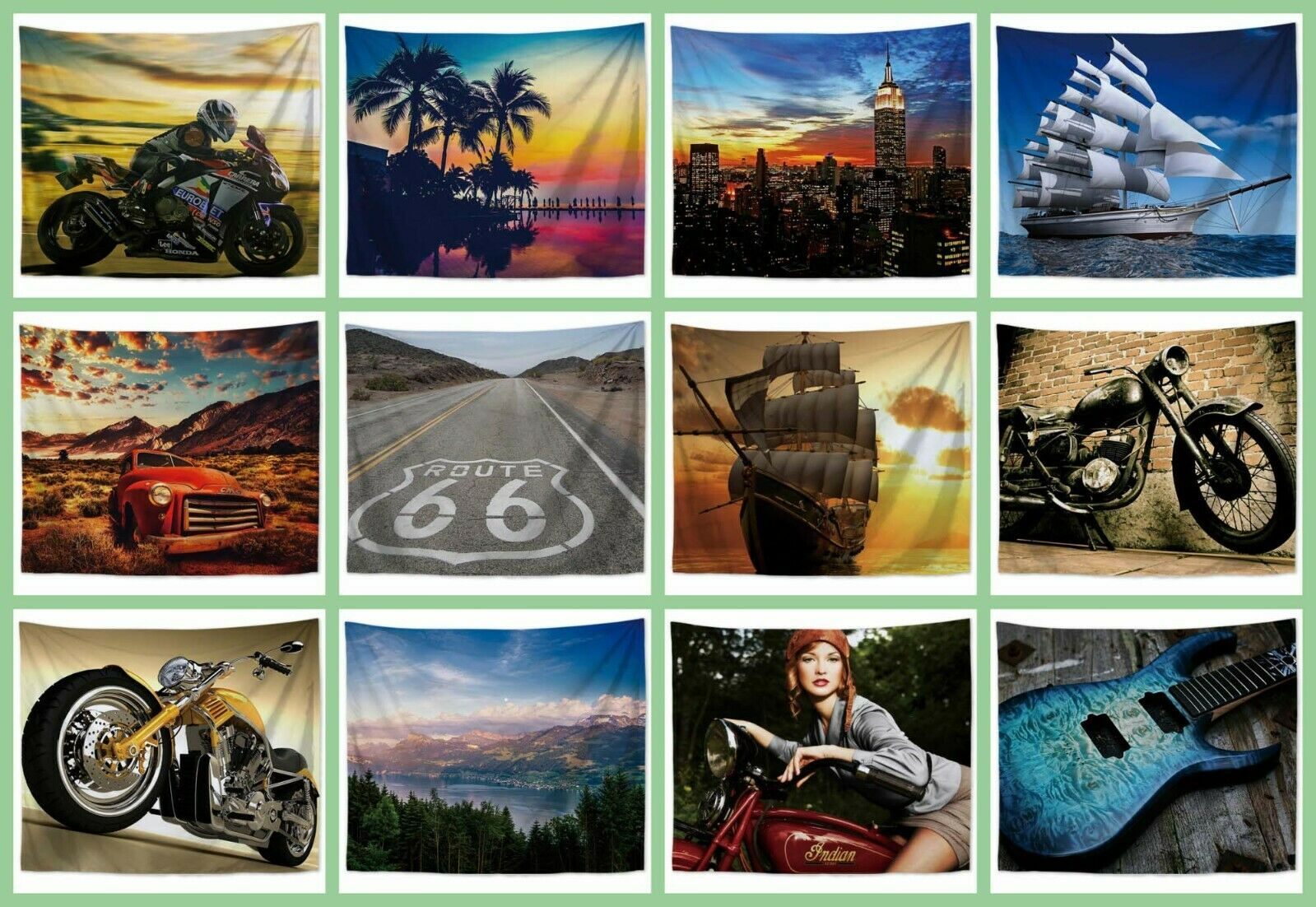 US Seller- 10 pieces buy wall art landscape nature travel hanging tapestries
