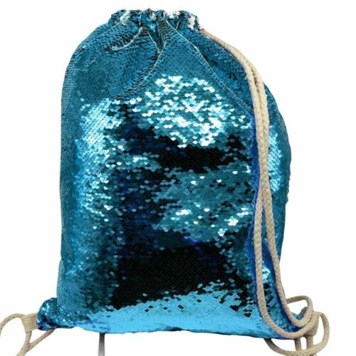 Personalised Sonic Blue Sequin Drawstring Bag Any Name School Nursery PE Gift 3