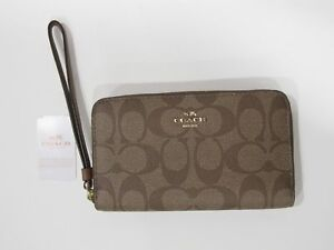 4d4266e31a6e New tag NWT Coach Khaki Brown Signature PVC Phone Wallet Wristlet ...