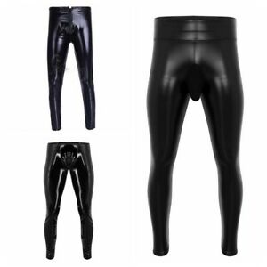 Mens-PU-Leather-Pants-Nightclub-Slim-Fit-Trousers-Muscle-Skinny-Pants-Wetlook