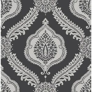 Abingdon black silver metallic damask wallpaper fine decor for Black white damask wallpaper mural