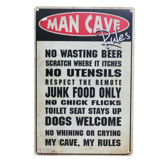 Warning Tin Sign 200*300mm Man CaveMy Cave My Rules Workshop Private