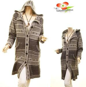 Women Gray Outerwear Hood Knitted Tribal Jacket Chunky Cardigan