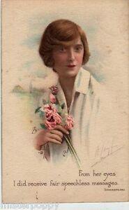 Glamour-Girl-with-Flowers-TUCK-2367-Ragazza-Fiori-PC-Viaggiata-1914-Donnina