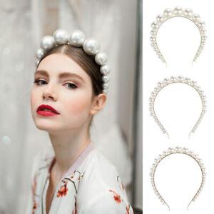 Ladies-Big-Pearl-Crystal-Hairband-Headband-Crown-Hair-Hoop-Accessories-Party