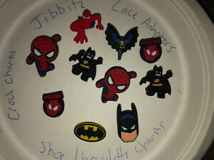 Batman-amp-Spider-Man-Lot-Of-10-Crocs-Shoe-Bracelet-Lace-Adapter-Charms-Jibbitz