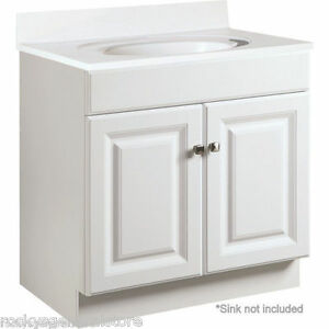 Image is loading Bathroom-Vanity-Cabinet-Thermofoil-White-30-034-Wide-  sc 1 st  eBay & Bathroom Vanity Cabinet Thermofoil White 30