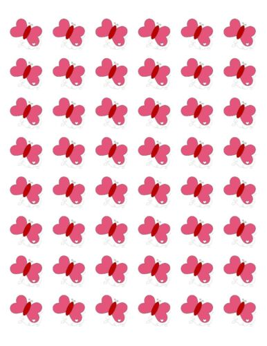 "48 CUTE PINK BUTTERFLY ENVELOPE SEALS LABELS STICKERS 1.2/"" ROUND"