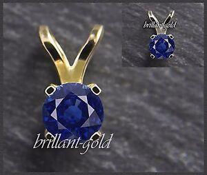 Anhaenger-585-Gold-Saphir-blau-4mm-Gelbgold-Weissgold-Damen-Schmuck-Edelstein