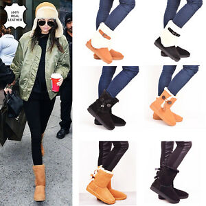 Womens-Winter-Boots-Genuine-Sheepskin-Leather-Fur-Snow-Casual-Walking-Sizes-3-8