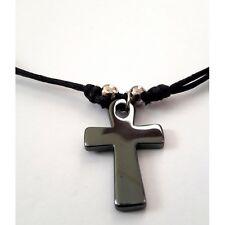 Handmade Christian Orthodox Pendant with Hematite Cross Necklace Crucifix No17
