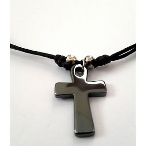Handmade christian orthodox pendant with hematite cross necklace image is loading handmade christian orthodox pendant with hematite cross necklace aloadofball Gallery