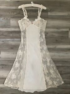 FLORA-NIKROOZ-LONG-NIGHTGOWN-SATIN-LACE-EMBROIDERY-IVORY-Sz-M