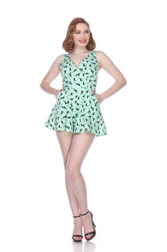 Bettie Page Sweetheart Romper Mint Cats