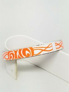 Orange-and-White-Hand-Made-Porcelain-Bangle-Vintage-Abstract-Bracelet