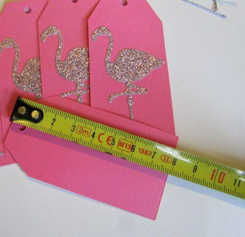Pink flamingo gift tags girls mum birthday christening wedding silver handmade