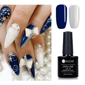 Blau-Schimmer-Glitzer-Gel-Lack-Set-UV-LED-Lampe-Soak-Off-Nagellack-UR-SUGAR