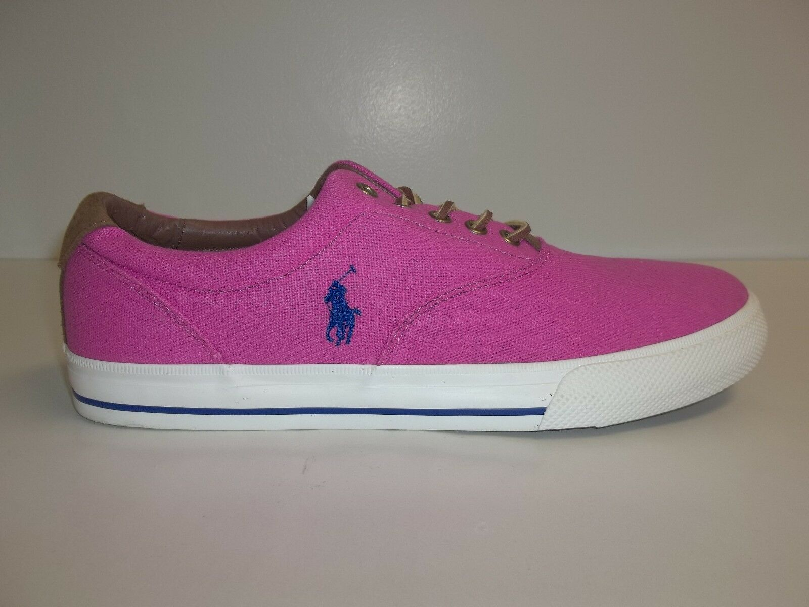 Polo Ralph Lauren Size 11 M VAUGHN Pink Canvas Fashion Sneakers New Mens shoes