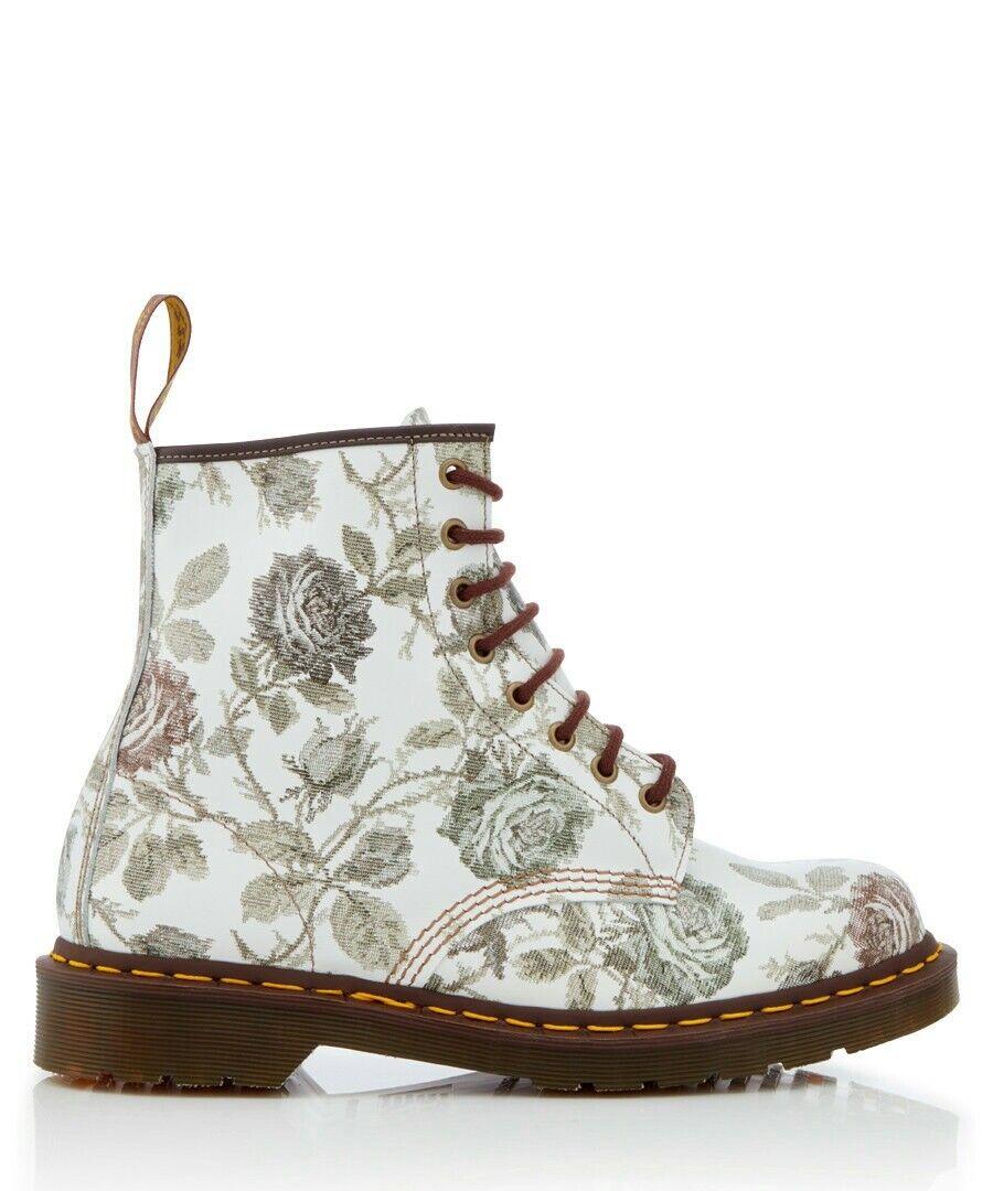 Dr. Martens mujer 1460 gris Floral De Cuero Cuero Cuero Con Cordones botas. Talla UK 9  ¡no ser extrañado!