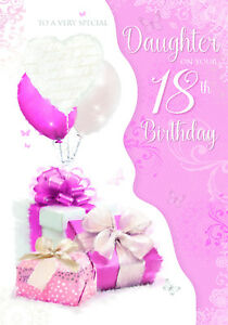 greeting card ~ free postage To a Gorgeous Daughter ~ glittered Birthday