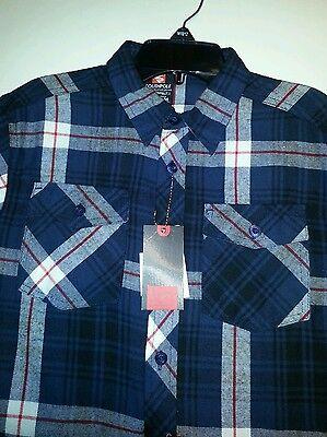 Boys Southpole Brand Navy Blue Plaid Flannel Shirt Size 10//12