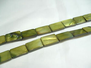 15-x-MOP-Dyed-flat-oblong-shell-beads-OB44-Green