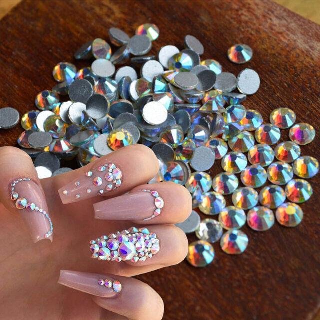 Lots 1440pcs Crystal AB Nail Rhinestones Plain Glitter Stones DIY 3D  decoration a4b4542a20bc