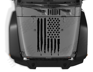 Distressed USA flag Hood vinyl sticker decal Fits any Jeep wrangler jk tj 23Z