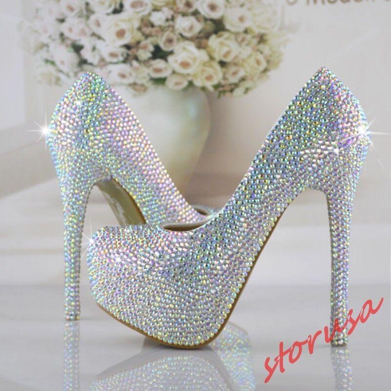 presa donna Bling Crystal Wedding scarpe Platform High Heels Bridal Bridal Bridal scarpe Pumps Dimensione  garantito