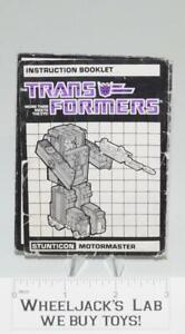 2019 DernièRe Conception Motormaster Figurine Manuel D'instruction Booklet 1986 Hasbro G1 Transformers-afficher Le Titre D'origine Performance Fiable