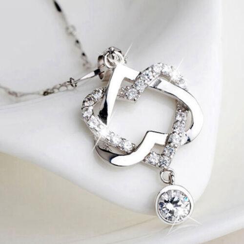 Women 925 Silver Double Heart Zircon Crystal Pendant Chain Necklace Jewelry Gift