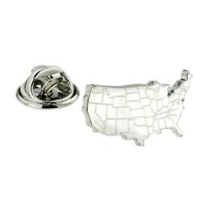 Details about USA United States America Outline Map With Engraved State  Lines Lapel Pin Badge
