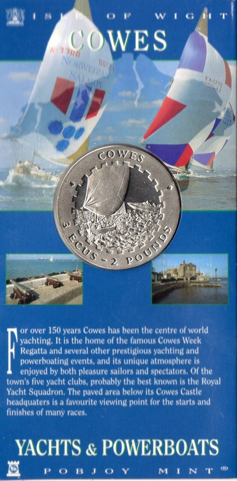 COWES - Yachts &energiabarcas - Isle of Wight - 3 ECU Coin - Still in autod - 1996