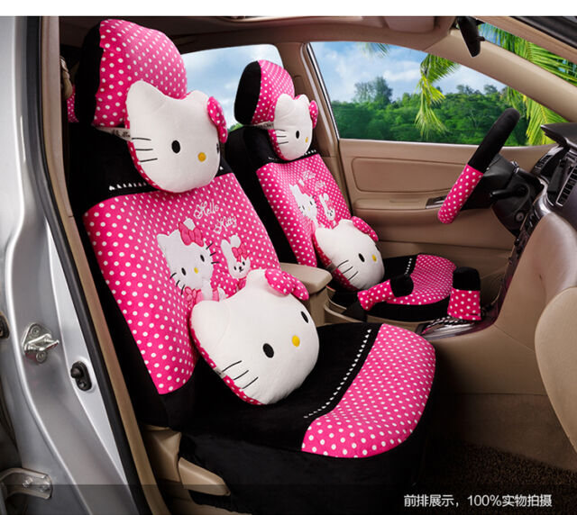 20 Piece Hot Pink Polka Dot Pretty Hello Kitty And Bunny Car Seat Covers