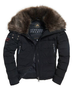 Parka Slick Coat £180 Rrp Womens Jacket Down Superdry Black Premium Iqxtnw4gf