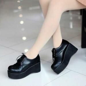 Retro-Punk-Round-Toe-Platform-Wedge-Heels-Lace-Up-Creeper-Goth-Shoes-Lace-Up-SZ