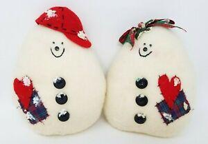 Vintage 1970s Handmade Stuffed Fabric Christmas Roly Poly Snowman Couple Figures
