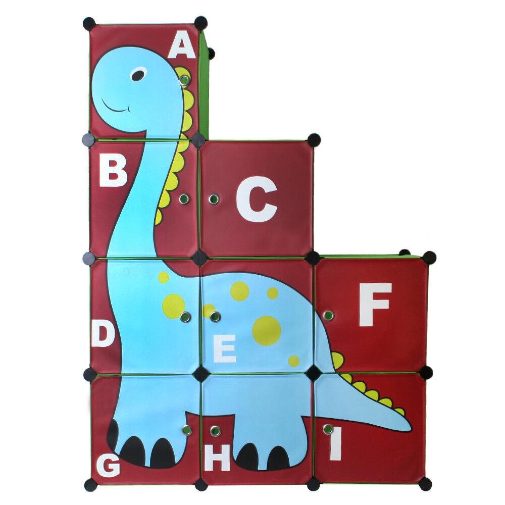 Armoire Enfant étagère Plug-In Chambre D'Enfants en Vert avec Dino Motif