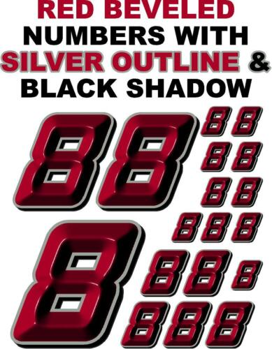 RED BEVELED Decal Sticker Sheet 1//8-1//10-1//12 RC Models 3-D RACING NUMBERS 8/'s