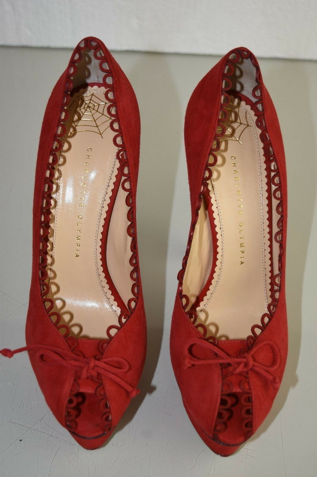 755 New Charlotte Olympia Platform DAPHNE Scalloped Suede Platform Olympia Pumps rot schuhe 39 41 c3f591