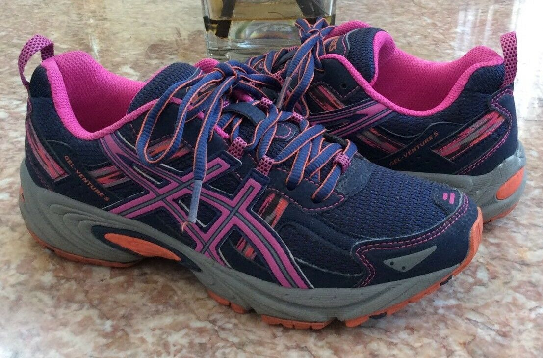 Asics Gel Venture 5 Women's Navy bluee Pink Running Trail shoes Size 7.5 T5N8N