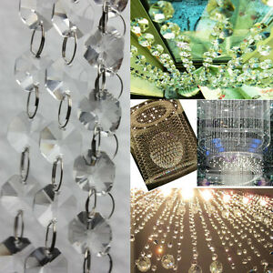 Hot Octagon 6 FT Clear Glass Chandelier Wedding Crystal Lamp Bean Chain Prisms